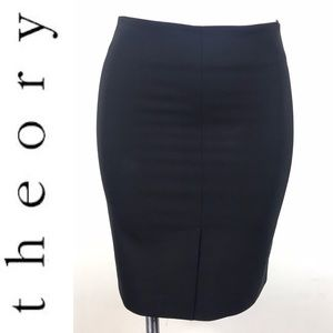 Theory Black Wool Front Slit Freida Pencil Skirt